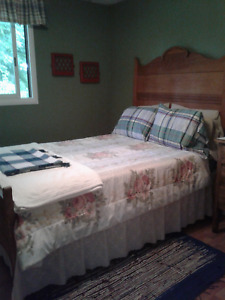 Bed with antique headboard and footboard for sale
