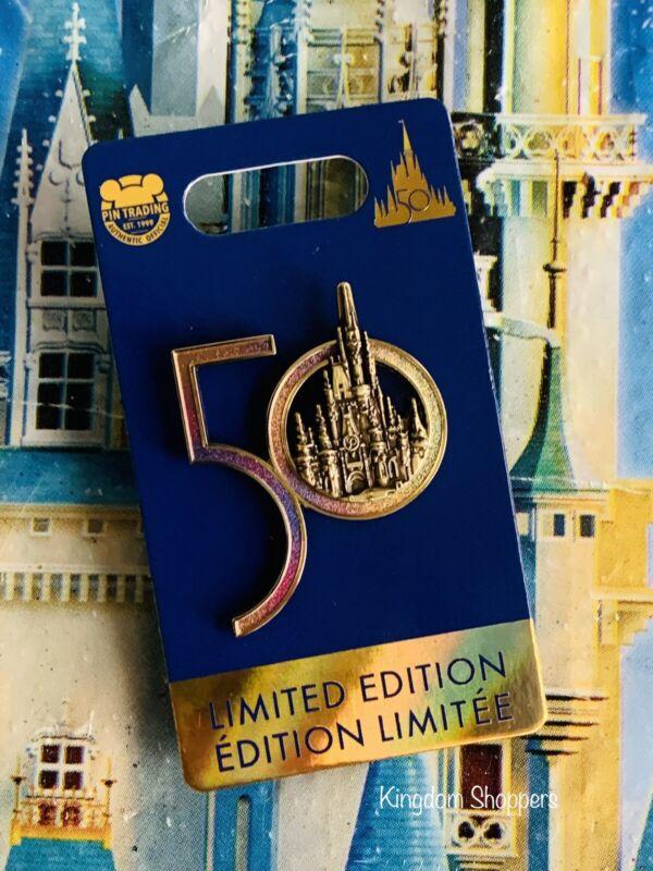 2021 Disney World 50th Anniversary Gold Cinderella Castle Pin New In Hand