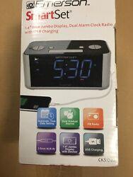 Emerson SmartSet CLOCK RADIO Dual Alarm 1.4 LED USB CHARGER BLUETOOTH SPEAKER