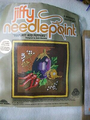 Cross Stitch Embroidery Kit Eggplant and Pepper JIFFY Needlepoint Partially Done
