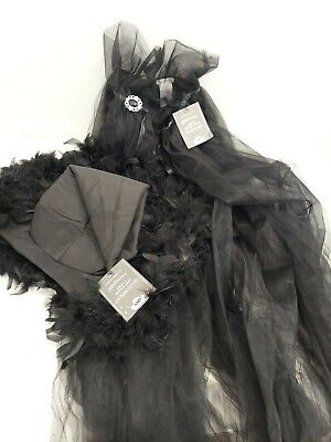 Pottery Barn Kids Adult Witch's Hat Halloween Accessory Feathered And Cape NWT