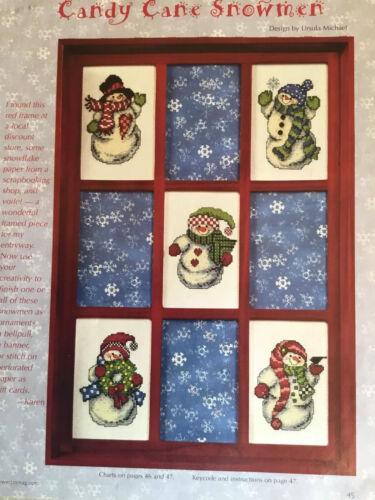 Counted Cross Stitch Pattern Candy Cane Snowmen - $2.50