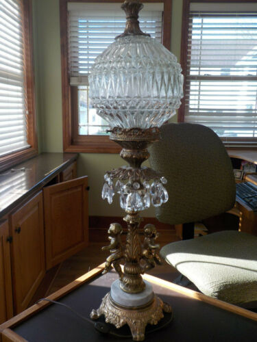 Vintage Glass Globe Gold Cherub Table Parlor Lamp with Feet Dangling Crystals