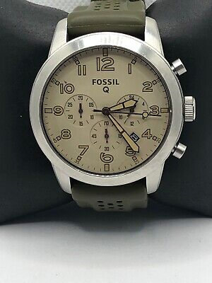 Fossil Q Unisex Green Silicone Analog Beige Dial Hybrid Smart Wrist Watch HK504