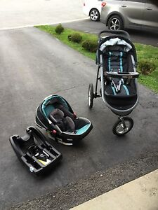 Baby stroller and car seat with base