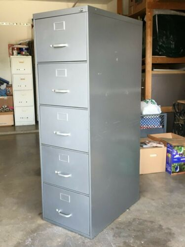 File Cabinet, Vertical 5 Drawer, Legal Size, Heavy Duty Steelcase