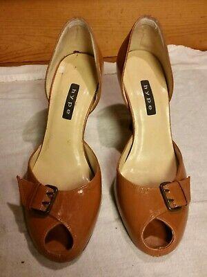 Hype Women's Peep Toe Pump Sz 6 M/ 36.5 Brown Leather w/ Buckle 3.5