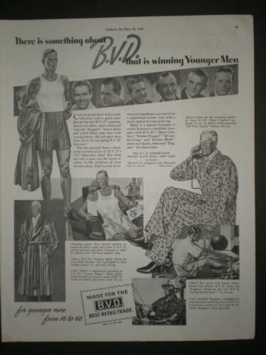 1937 BVD MENS UNDERWEAR BOXERS art print ad