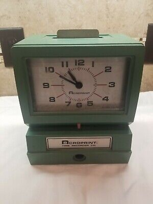 Acroprint Time Recorder Co Time Card Clock Punch Model 125nr4 No Key