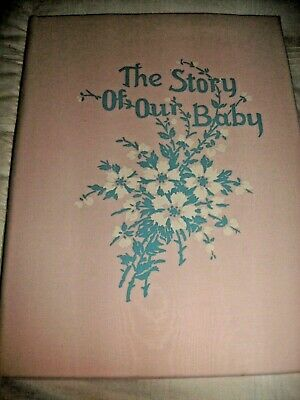 SHABBY COTTAGE VINTAGE BABY BOOK PINK MOIRE TAFFETA  c. 1939