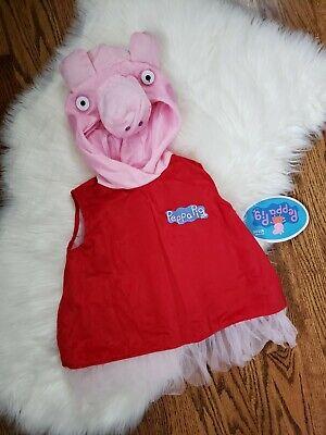 Ballerina Toddler Costume (NEW Toddler Girls Pink Peppa Pig Hooded Ballerina Dress Halloween Costume-)