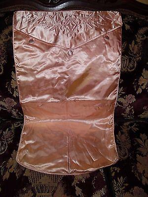 Vintage 1920s/1930s-Stunning Peach Satin Boudoir Rare Dress Lingerie Travel Bag