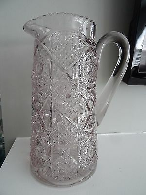 1898 FOSTORIA GLASS EAPG Brazilian Cane Shield Pitcher Tankard 1/2 GALLON #600