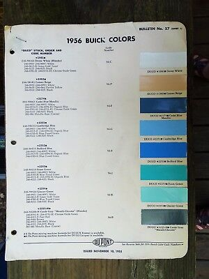 RARE 1956 BUICK COLORS PAMPHLET - 5 PAGES - BULLETIN NO. 27 - REALLY SCARCE ITEM