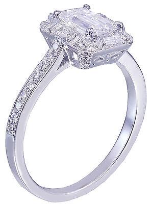 GIA G-VS2 14k White Gold Emerald Cut Diamond Engagement Ring Deco Halo 1.60ctw 5