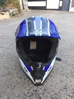 Motorbike helmet and goggles