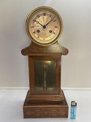 French Charles X Marquetry Inlaid Exotic wood Mantel Clock Thermometer 1830