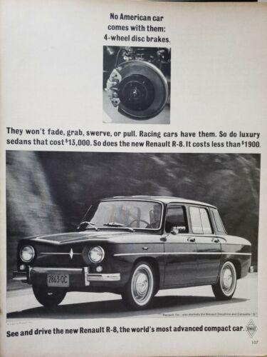 Lot of 3 Vintage 1960 Renault Dauphine R-10 R-8 Ads  4 Wheel Disc Brakes