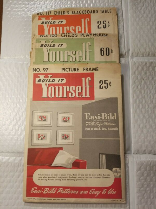 3 VINTAGE EASI - BILD BUILD IT YOURSELF INSTRUCTIONS Lot of 3.