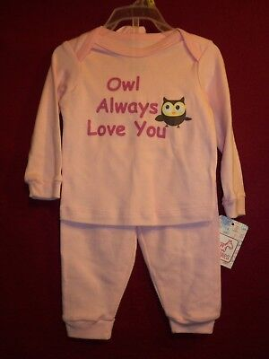 OWL ALWAYS LOVE YOU Size 3/6M 3 Pc Set, Pink Top, Pants & Hat NEW W/ Tag! - Owl Always Love You