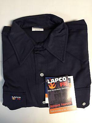 Lapco 7oz Flame Retardant Navy Blue Work Shirt Xlarge