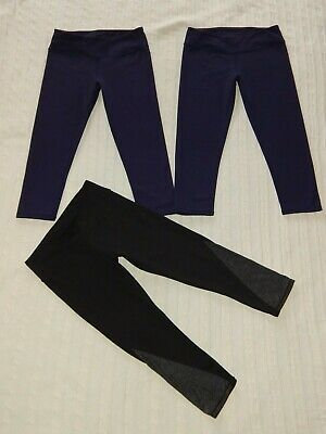 Lot of 3 FABLETICS ― XS ― Navy Blue/Black Crop Capri Leggings ― #AF17 *3 PAIRS*