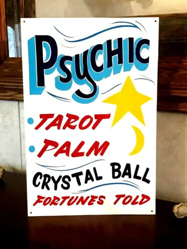 Vintage Carnival Palm Reading Psychic Sign Circus Amusement Park Tarot Cards Art