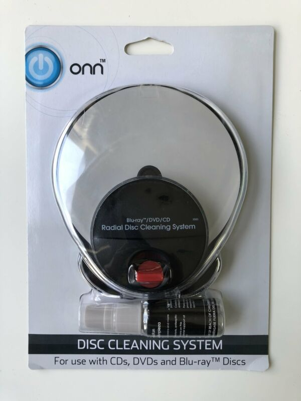 Onn Radial Disc Cleaning System CD, DVD, Blu-ray Discs CDs DVDs Includes Solutio