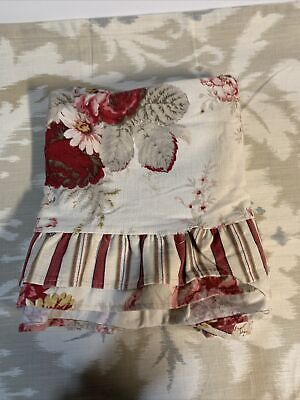 Waverly Garden Room Table Cloth Topper Norfolk Rose Ruffled Red Pink Taupe Ivory