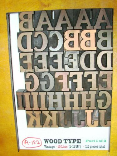 "Wood Type - Antique -10 Line (1 11/16 "") - 115 Pieces-Some are Copper Engravings"