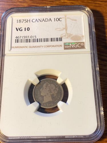 1875H CANADA 10 CENTS NGC VG10 RARE