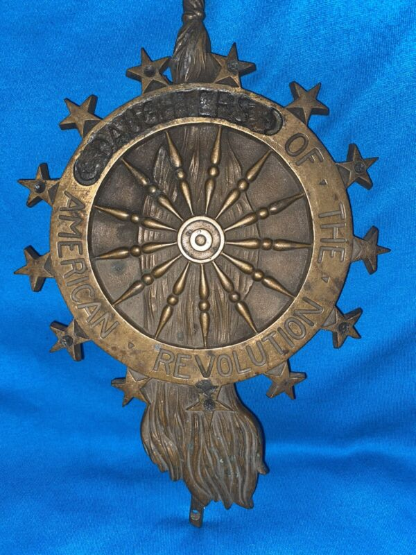 Antique DAR Daughters of the American Revolution Grave Marker Brass/Metal