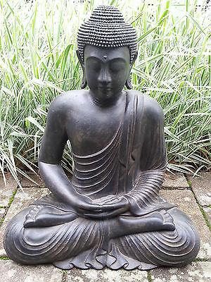 XL Großer Buddha sitzend Lavastein ca. 60 cm Figur Feng Shui Skulptur Lotus ASIA