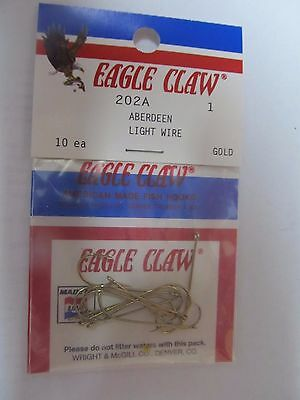 Eagle Claw 202 #1 Aberdeen Light Wire Lot of 5 packages 50 total hooks.  NEW Aberdeen Light Wire Hooks