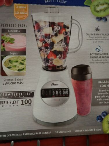 OSTER BLENDER, 10-SPEED 450 WATT, WHITE, WITH 6 CUP PLASTIC JAR AND SMOOTHIE CUP