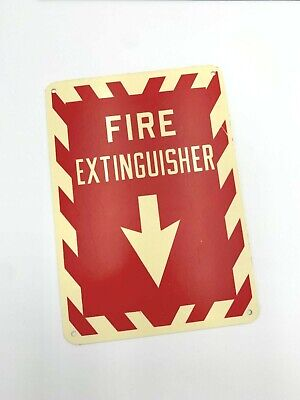 Vintage Fire Extinguisher Plastic Red And White Wall Sign