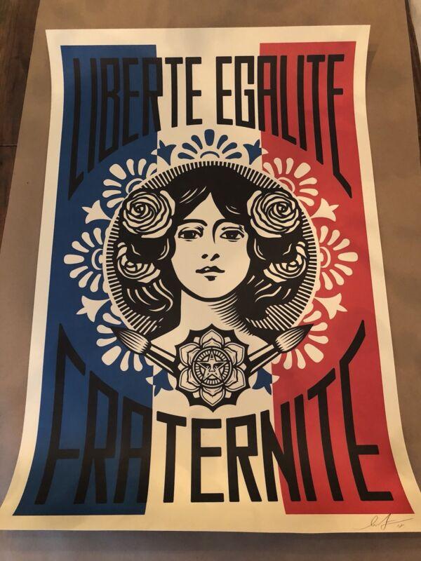 SIGNED Shepard Fairey Paris Liberte Egalite Fraternite Print Poster Obey Giant