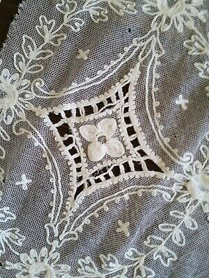 LOT OF 2 ANTIQUE TAPE LACE MEDALLIONS VERY LARGE IVORY NET FABRIC REMNANTS HUGE