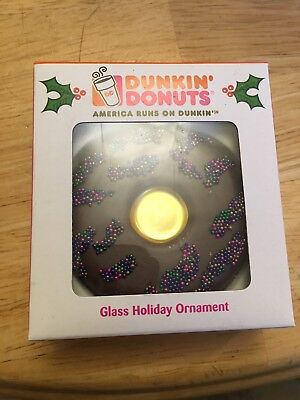 DUNKIN' DONUTS GLASS HOLIDAY ORNAMENT CHOCOLATE FROSTING KURT S. ADLER - Dunkin Donuts Ornaments