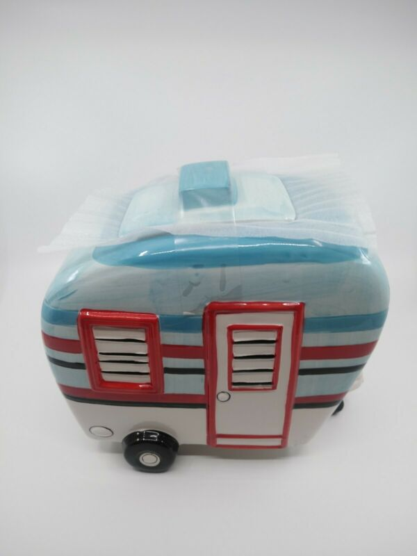 Happy Camper Camping Trailer/ Ceramic Cookie Jar