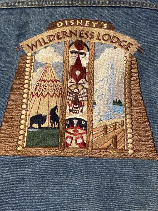 Mickey, Inc Disney's Wilderness Lodge Blue Jean Jacket XXL EMBROIDERED Men's EUC
