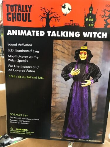 Totally Ghoul..Animated Talking Witch..5.5 ft led illuminated eyes