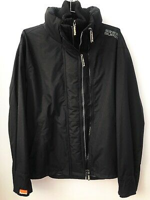 SUPERDRY Black Triple Full Zip Wind Resistance Parka Jacket Mens Oversize XXL=M