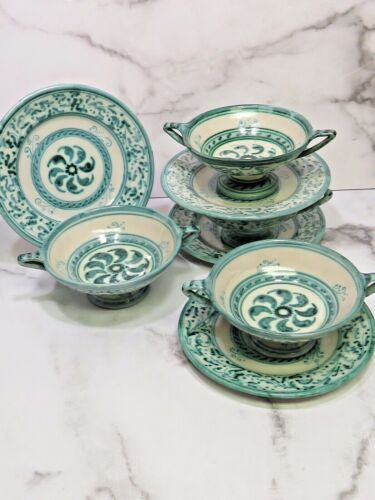 Antique Deruta Italian Pottery Green Cream Soup Bouillon Bowls w Plates Majolica