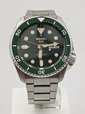Seiko 5 Sports Green Dial Silver Steel Bracelet Automatic Men's Watch SRPD63K1