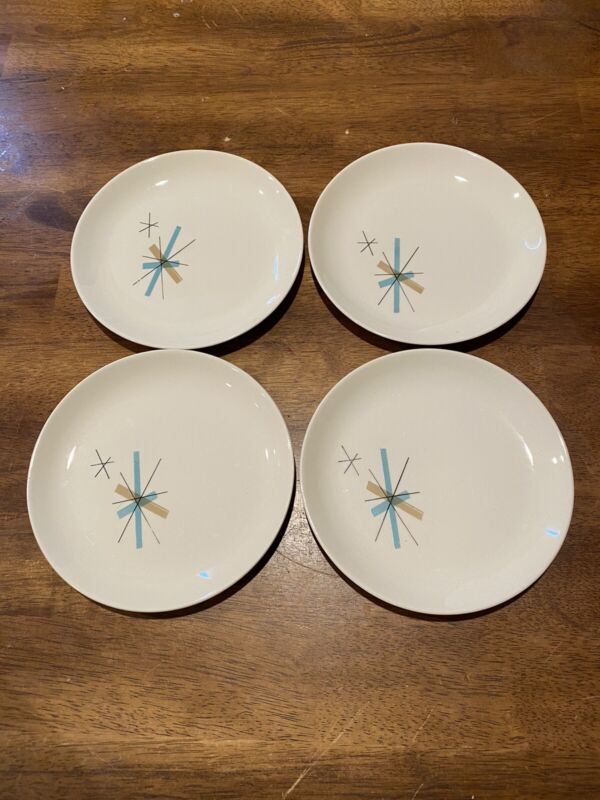 Set of 4 Salem China Atomic North Star Bread and Butter Plates MCM EC