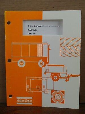 Oem Atlas Copco Qas 78 Jd Portable Ac Generator Parts Book List Manual