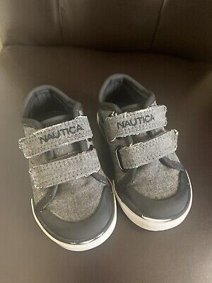 GUC Nautica Gray Blue Jeans Toddler Boys Sz 5 Velcro Shoes Dress Casual Strap-on