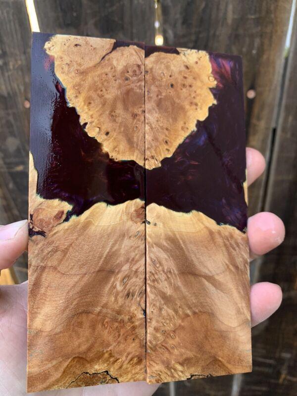 Stabilized Maple Burl Hybrid Resin - Knife Scales