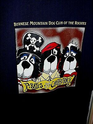 BERNESE MOUNTAIN DOG CLUB OF THE ROCKIES graphic t shirt. ADULT MED NWOT DRK BLU
